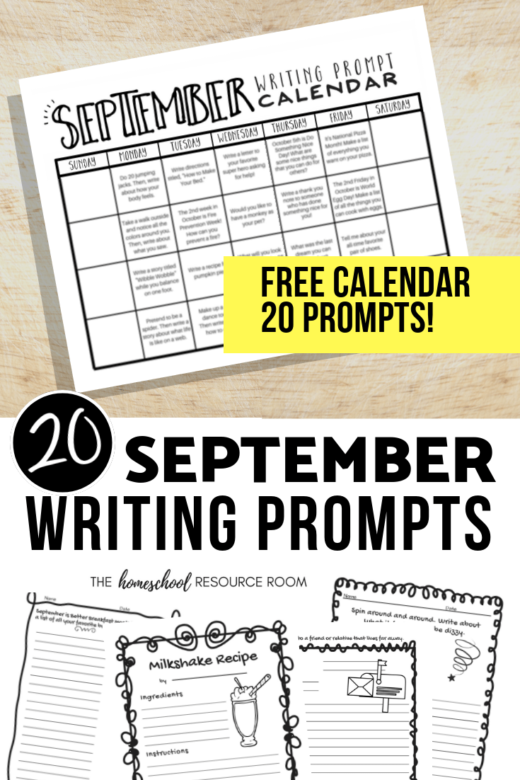 September Writing Prompts: Free Calendar with 20 Prompts!